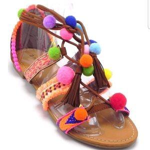 BAMBOO Pom Pom Gladiator Sandals